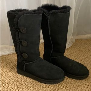UGG Black Tall Bailey Button Uggs 8